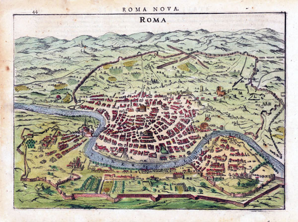 Detailed antique map of Rome city. Rome city detailed antique map.