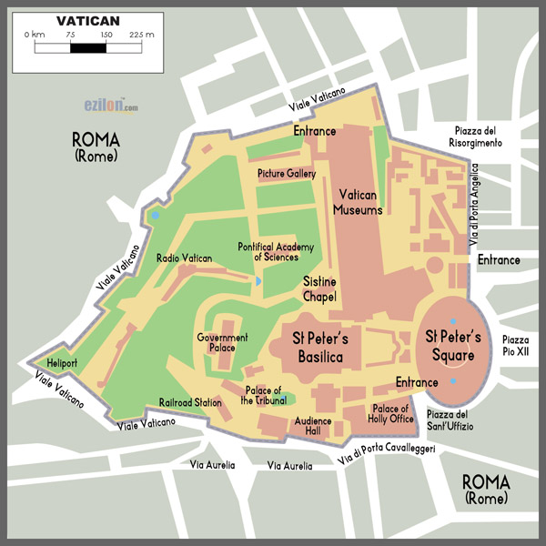 Detailed map of Vatican city. Vatican city detailed map.