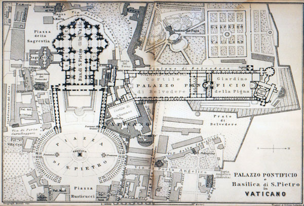 Detailed old map of Vatican city. Vatican city detailed old map.
