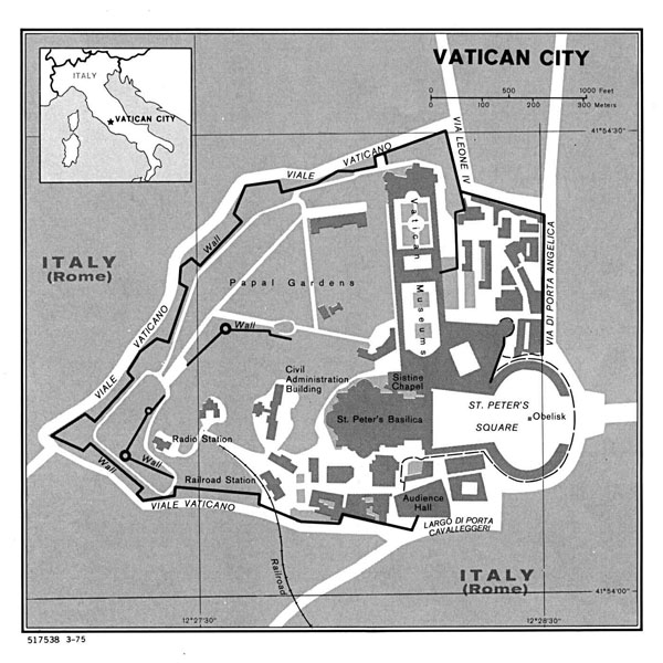 Detailed political map of Vatican city.