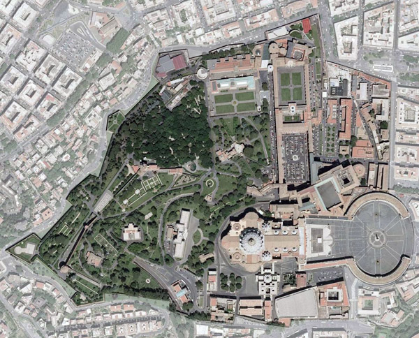 Detailed satellite map of Vatican city.