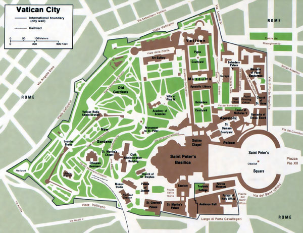 Large detailed political map of Vatican city.