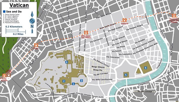 Large detailed tourist map of Vatican city.