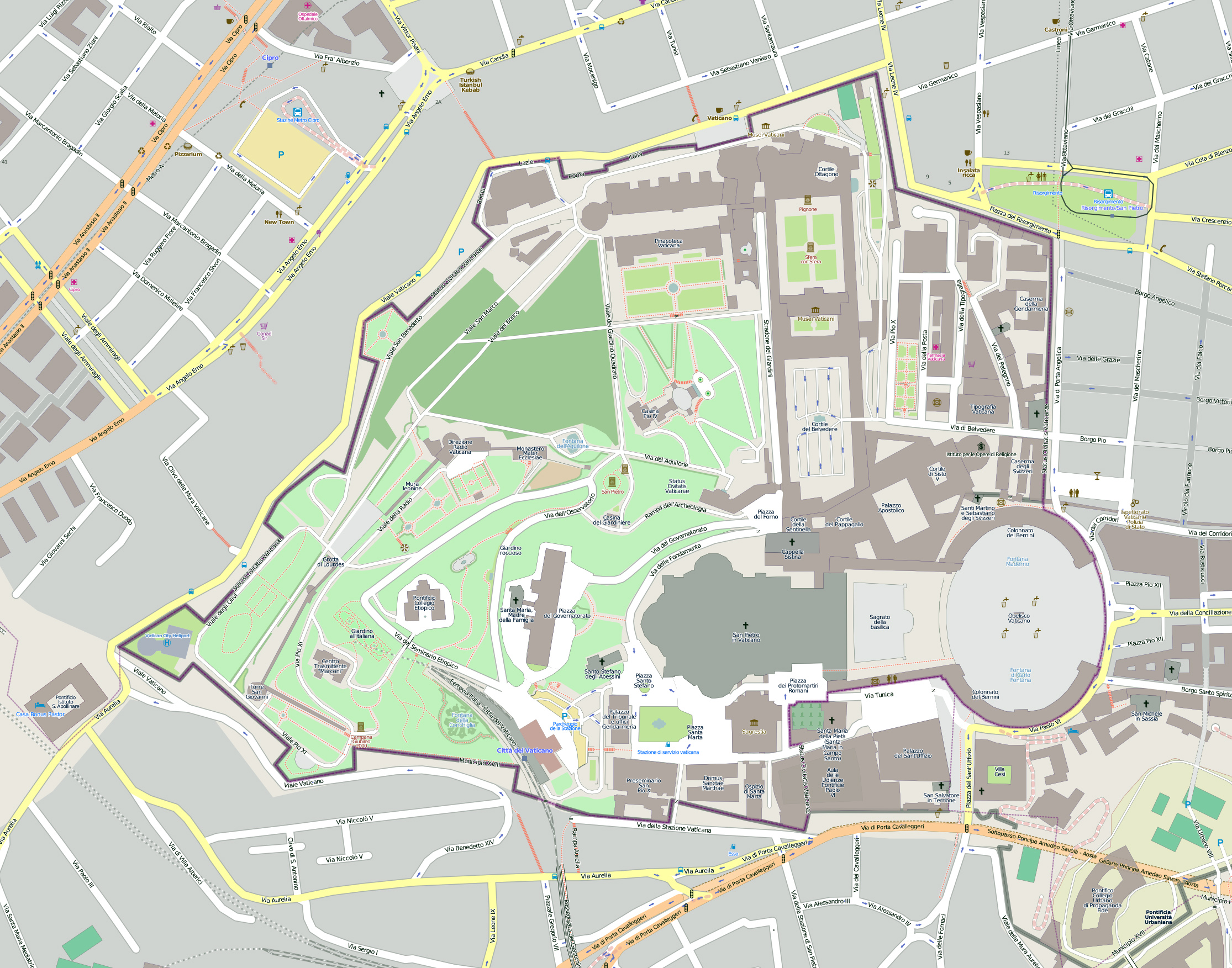 large scale map of vatican city vatican city large scale map