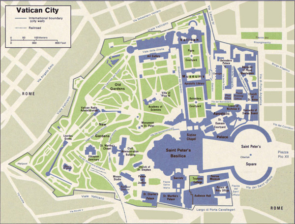 Map of Vatican. Vatican map.