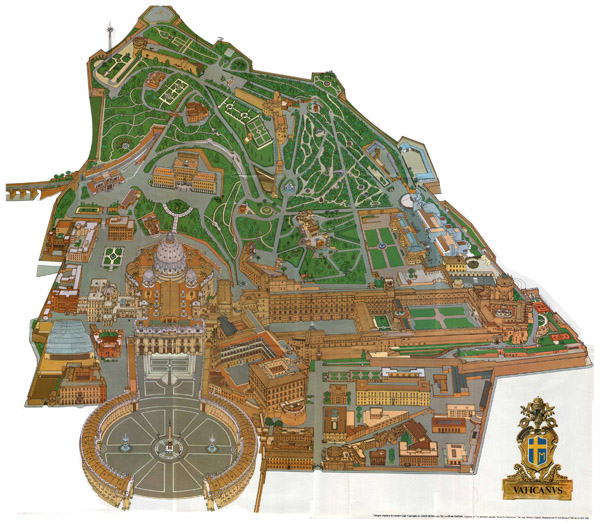Panoramic map of Vatican. Vatican panoramic map.