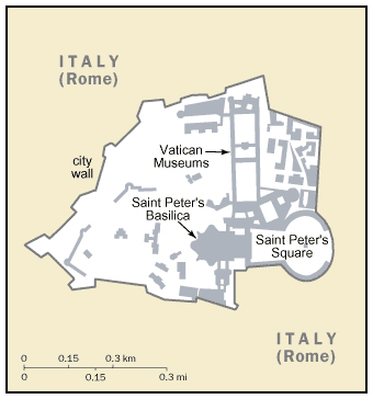 Small map of Vatican. Vatican city small map.