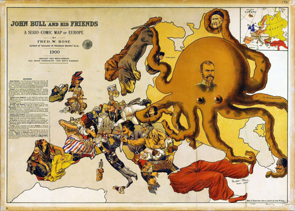 Large detailed a serio comic map of Europe – 1900.