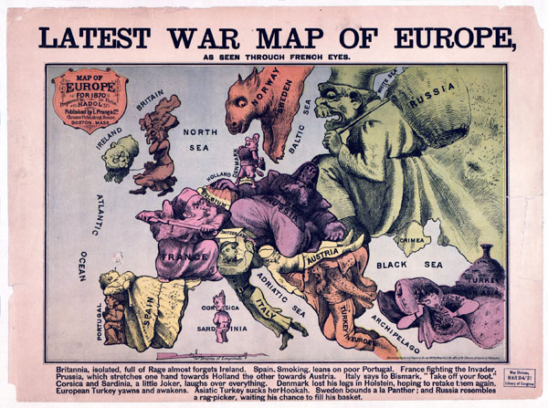 Large detailed latest war map of Europe – 1835-1875.