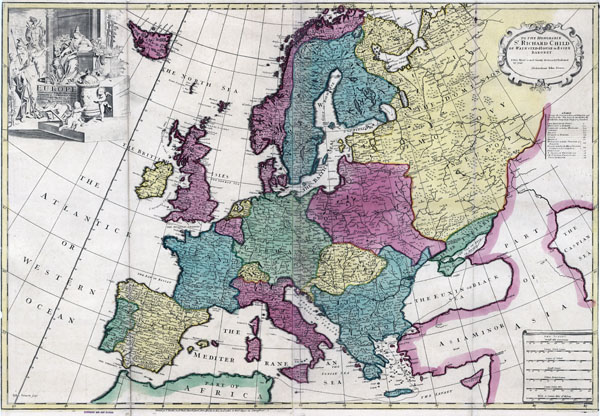 Large detailed old political map of Europe – 17xx.