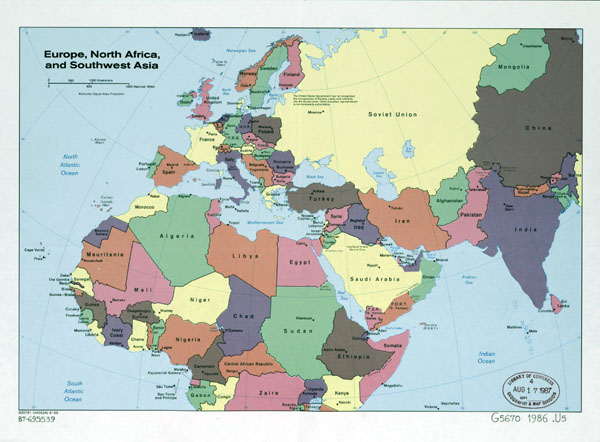 Large detailed old political map of Europe, North Africa and Southwest Asia - 1986.