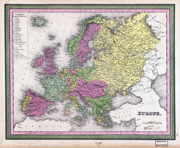 Large detailed old political map of Europe with cities - 1849.