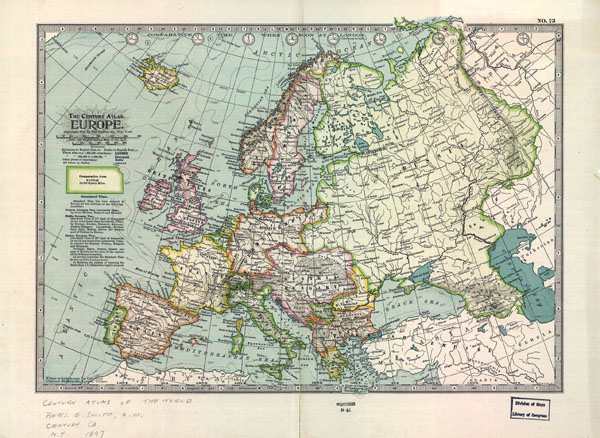 Large detailed old political map of Europe - 1897.