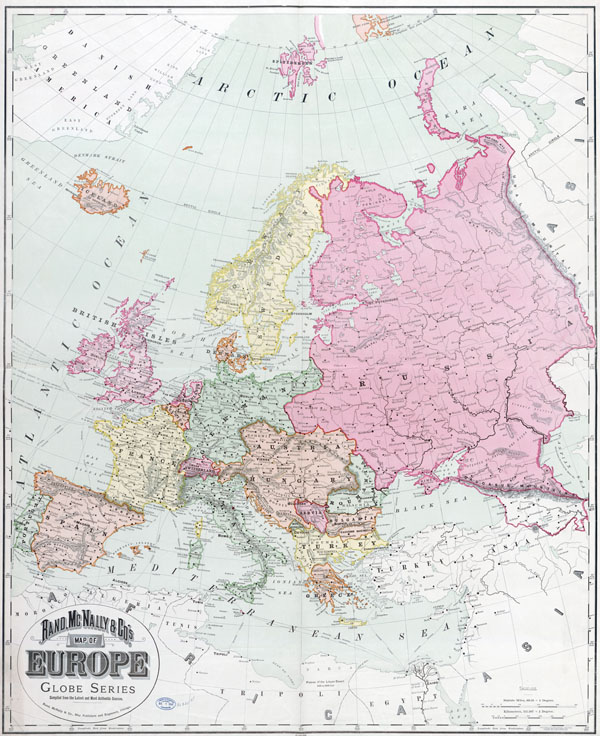 Large detailed old political map of Europe with cities - 1894.