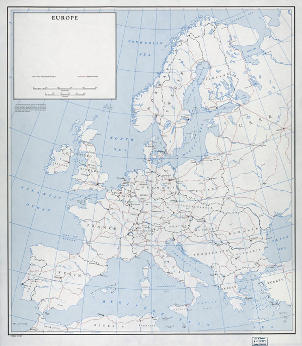 Large detailed old political map of Europe with railroads - 1960.