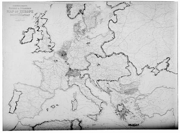 Large detailed old railway and steamship map of Europe - 1913.