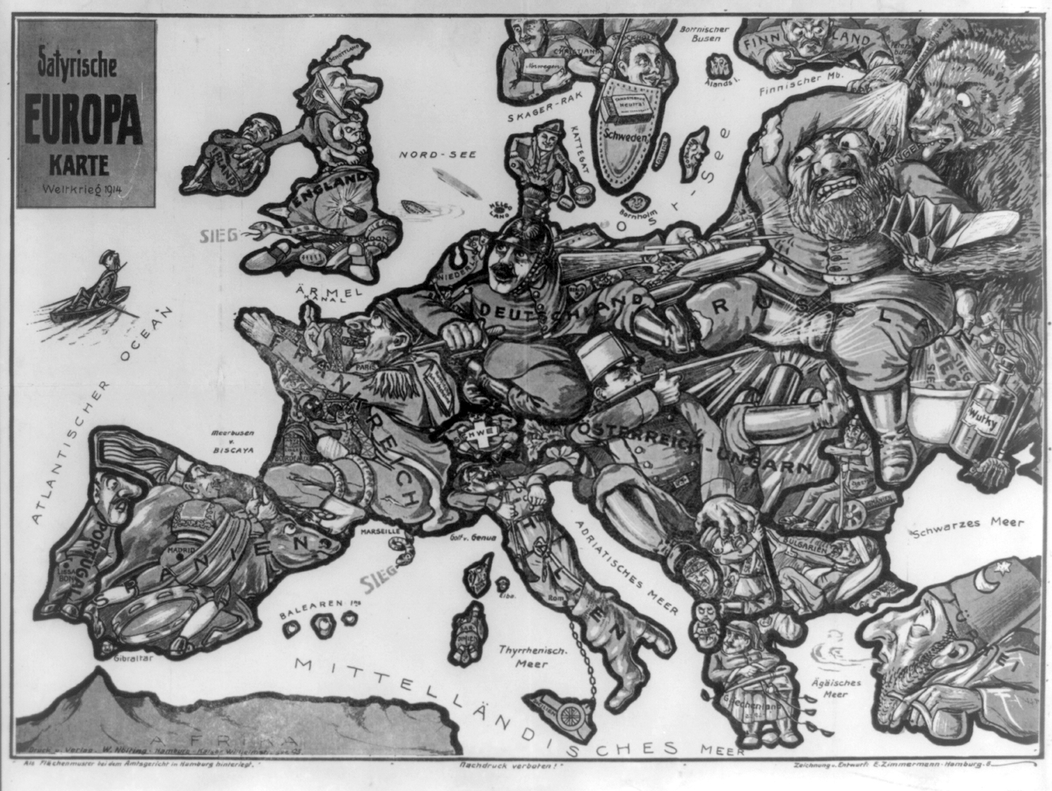 Large old satirical map of Europe – 1914 | Vidiani.com | Maps of all ...