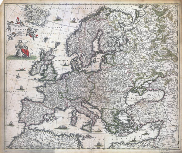 Large scale detailed old map of Europe - 1700.