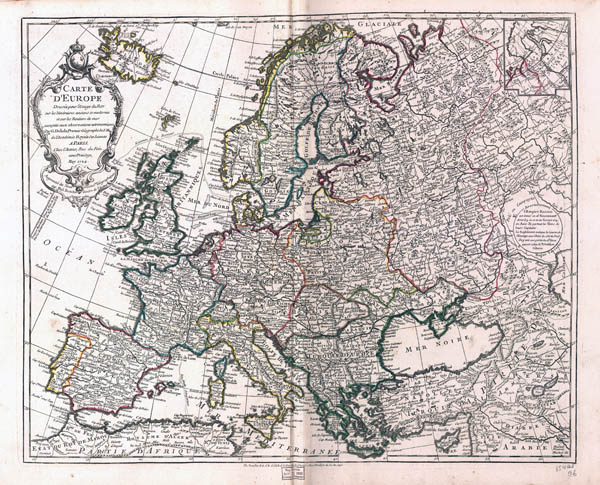 Large scale old political map of Europe - 1769.
