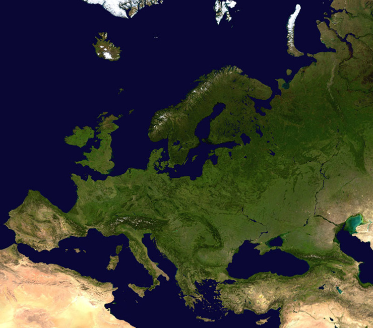 Satellite map of Europe. Europe satellite image.