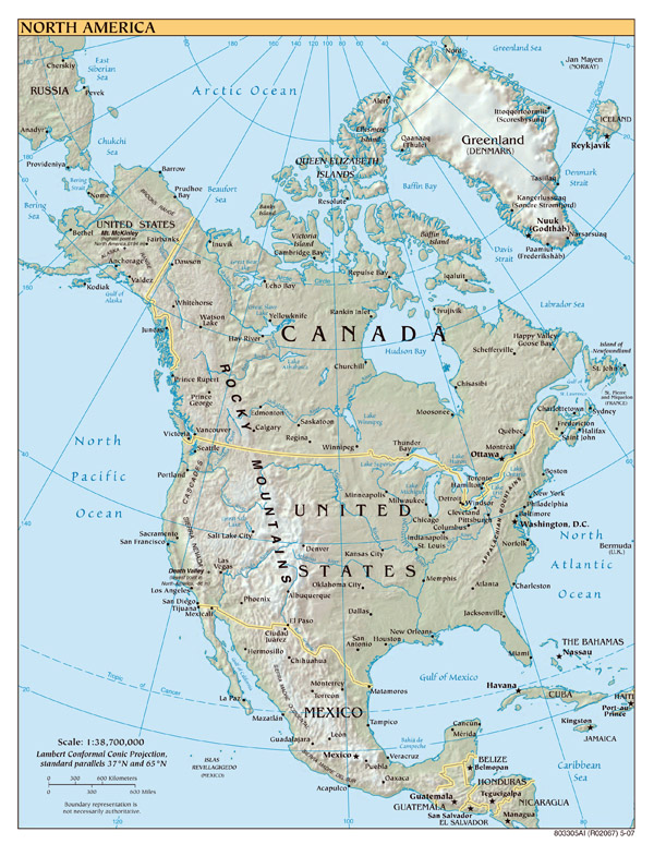 North America large detailed political map with relief, all capitals and major cities.