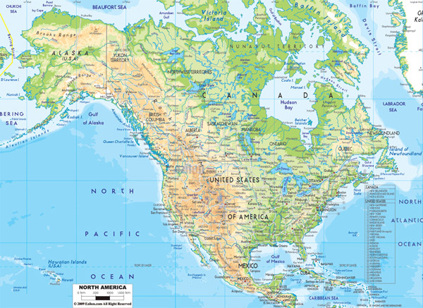 Detailed physical map of North America with roads and cities.