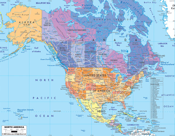 Detailed political map of North America with roads.