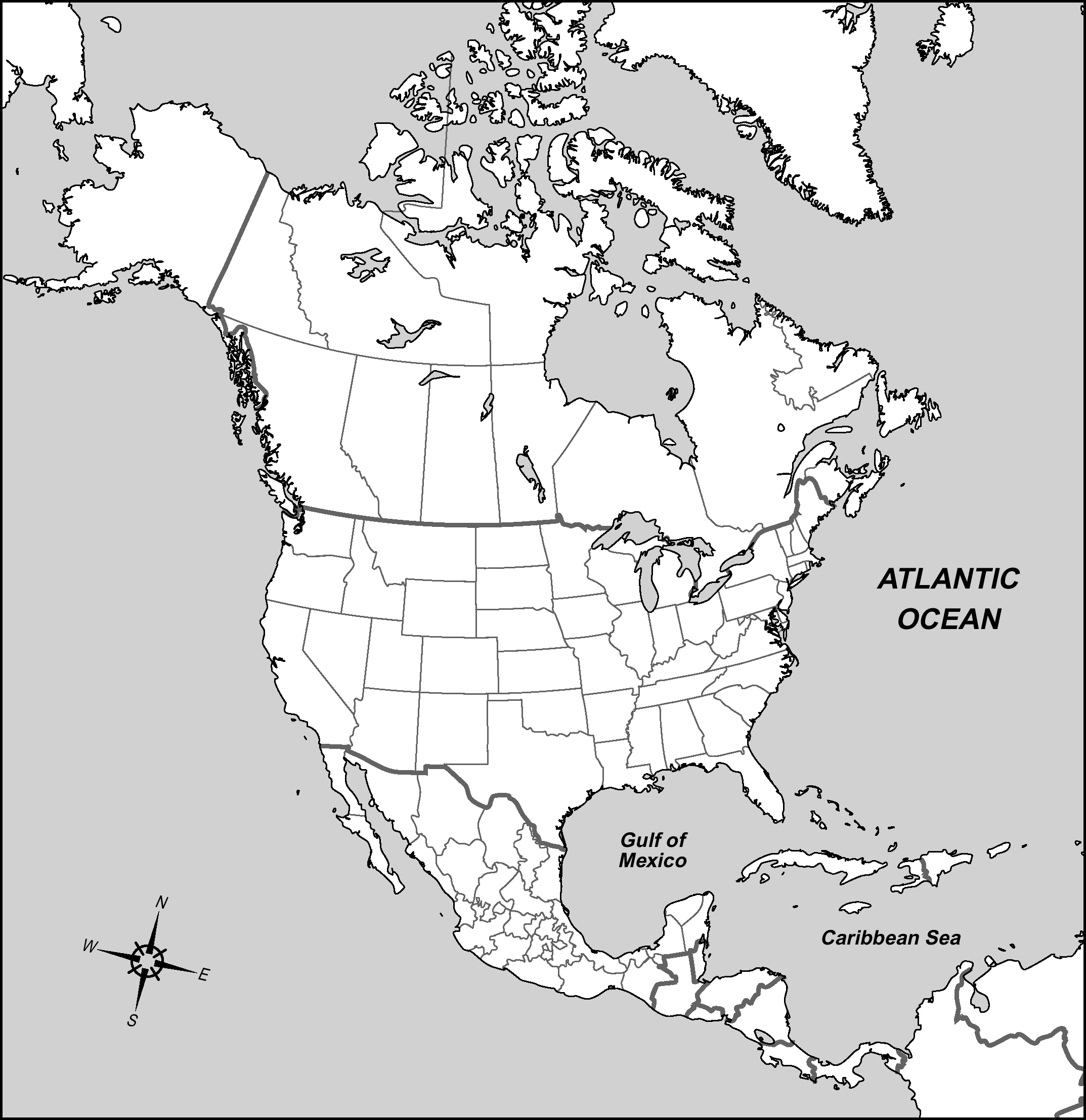 Large Detailed Contour Political Map Of North America North America
