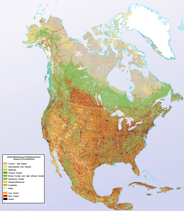 Large detailed human impact map of North America.