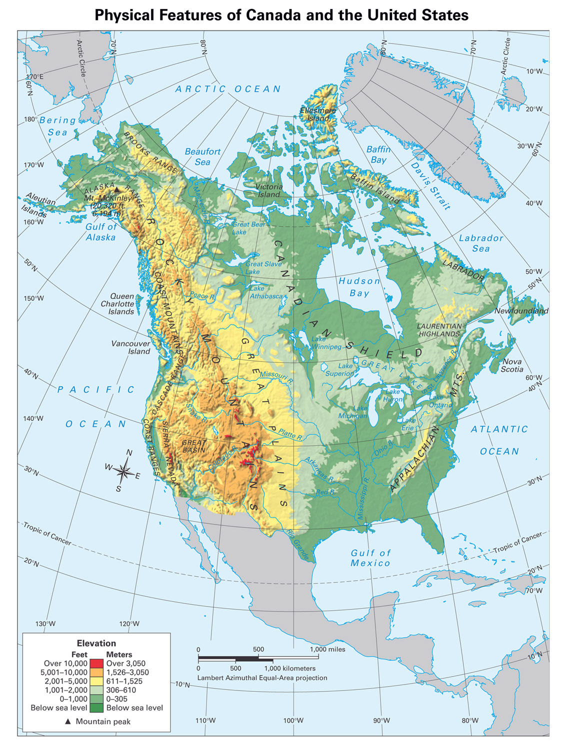 Large Detailed Physical Map Of North America North America Large - Physical maps of canada