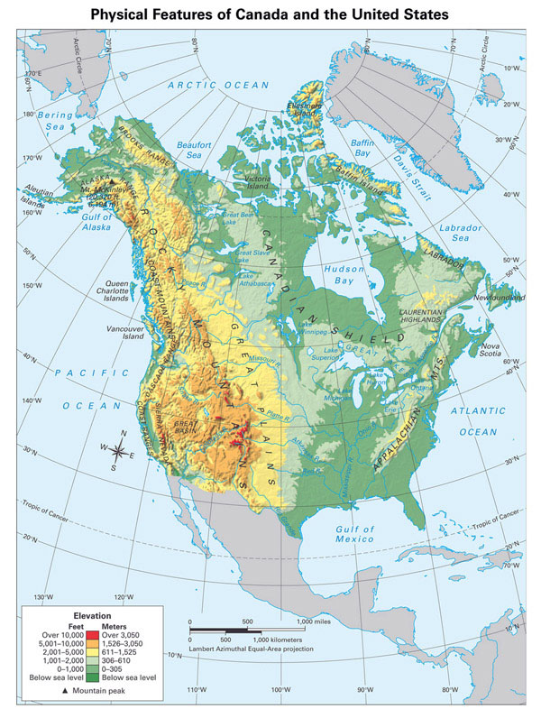 Large detailed physical map of North America.