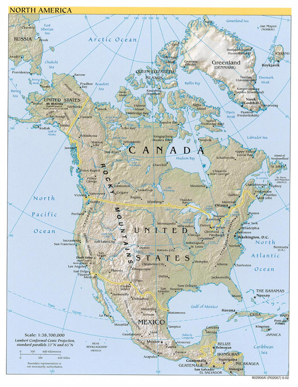 Large detailed political and relief map of North America.