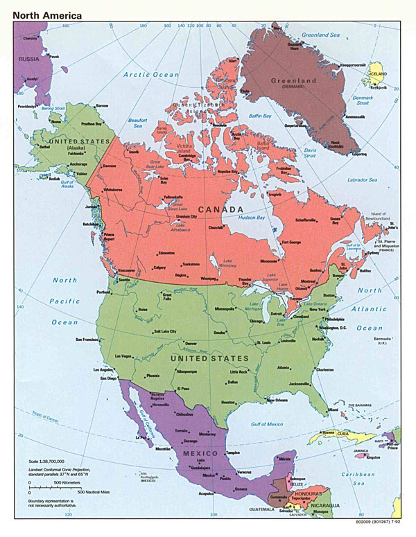 Large detailed political map of North America.