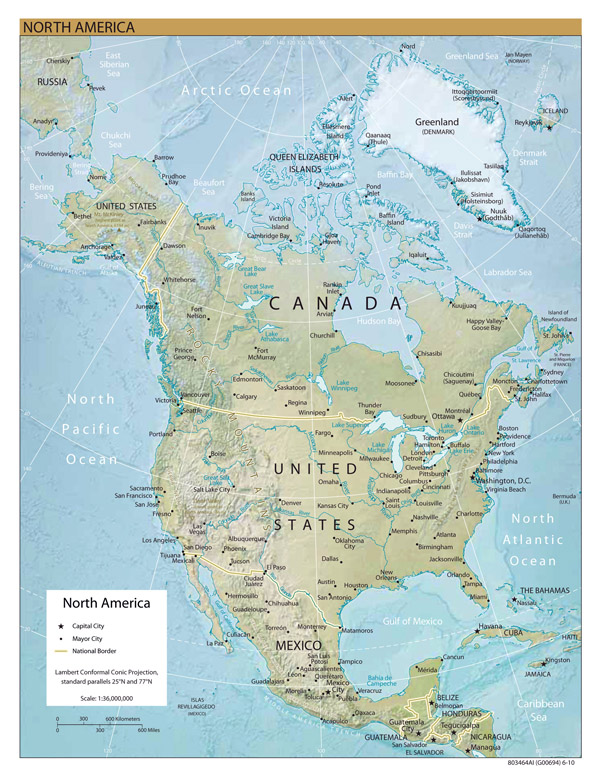 Large detailed relief map of North America.