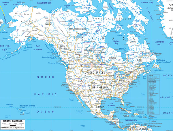 Large detailed road map of North America with cities and airports.
