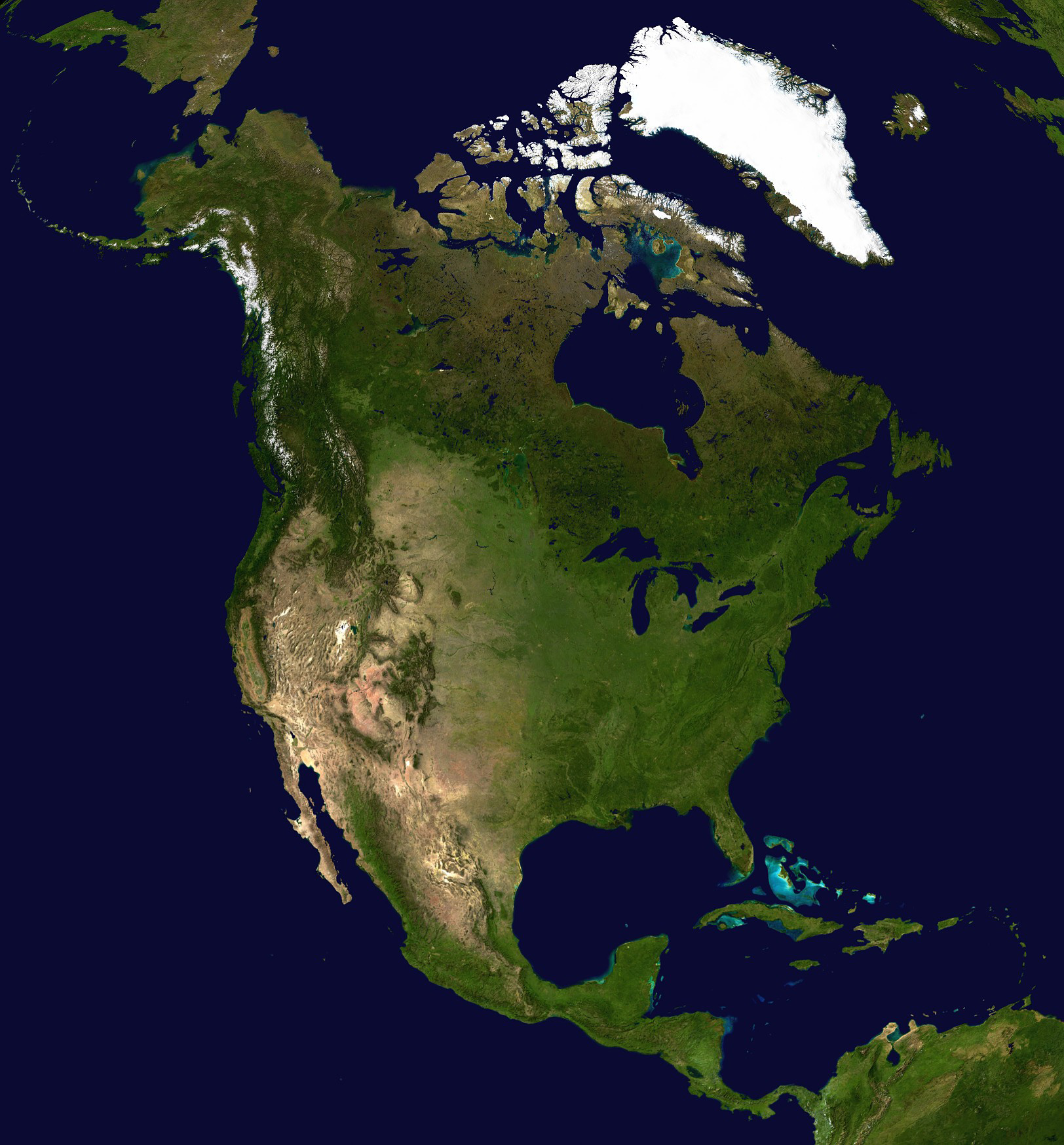 Large detailed satellite map of North America North America large detailed s