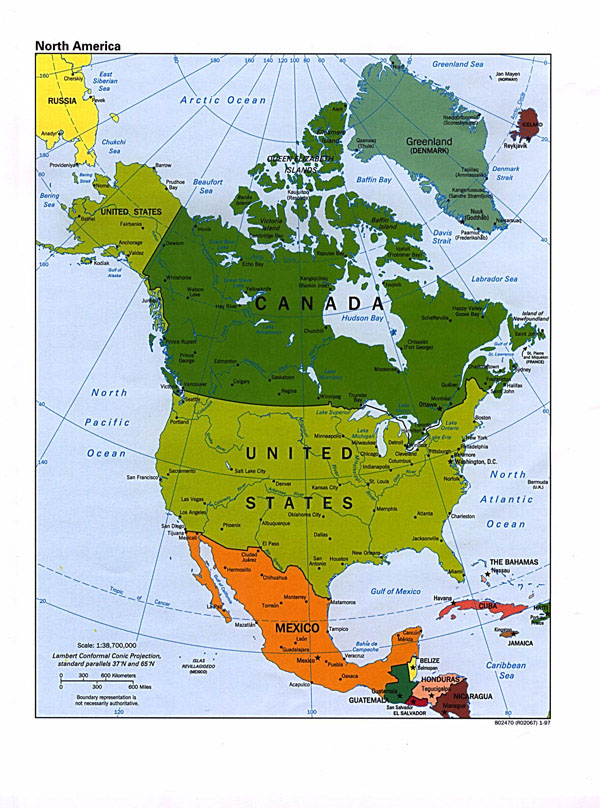 Large political map of North America.