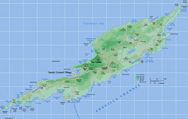 Detailed physical and road map of Anguilla. Anguilla detailed physical and road map.