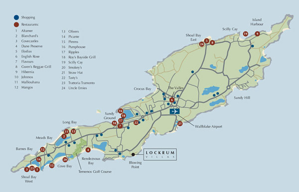Detailed road and tourist map of Anguilla. Anguilla detailed road and tourist map.