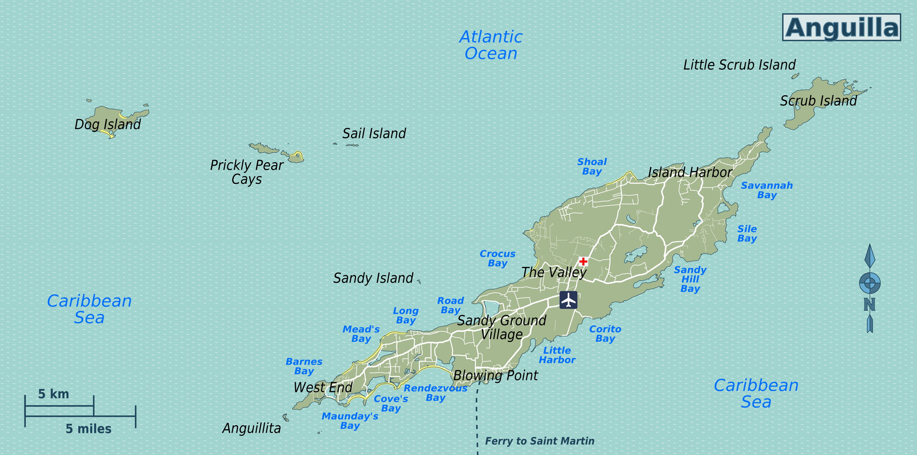 Detailed Road Map Of Anguilla Anguilla Detailed Road Map - Map of anguilla
