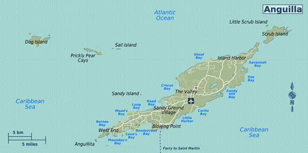 Detailed road map of Anguilla. Anguilla detailed road map.
