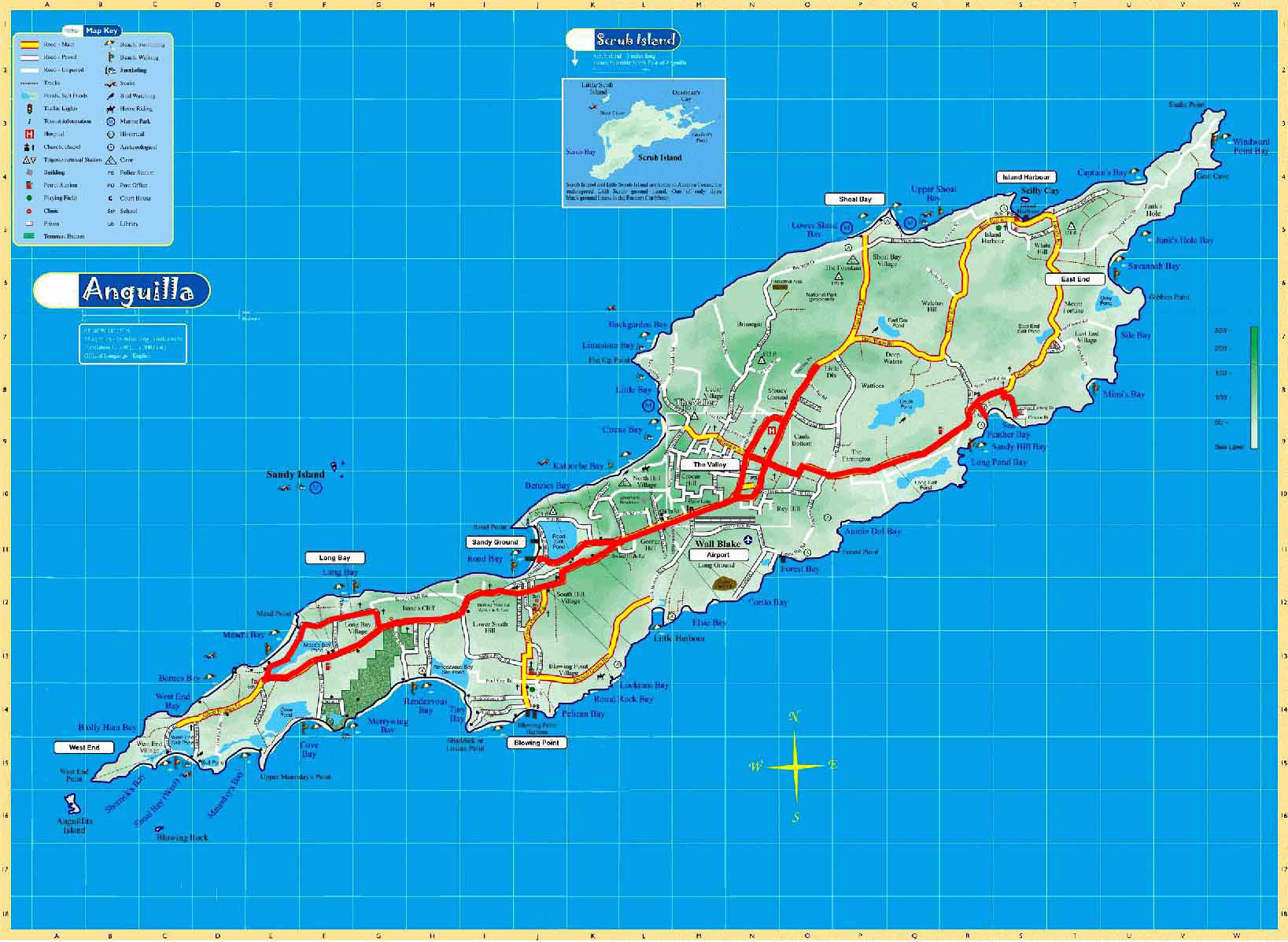 Large detailed road and physical map of Anguilla Anguilla large