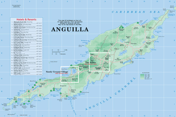 Large detailed road map and physical map of Anguilla with hotels.