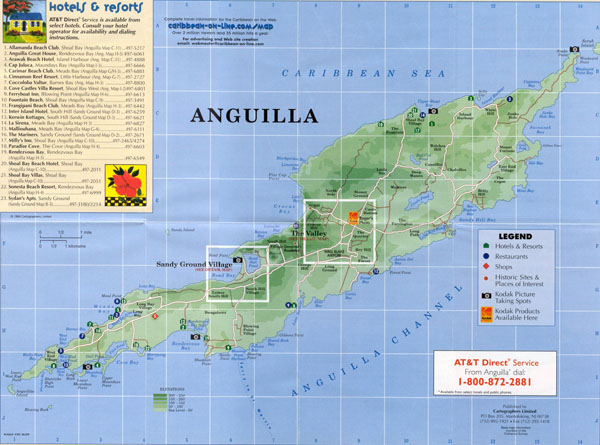 Large detailed road map and tourist map of Anguilla with hotels.