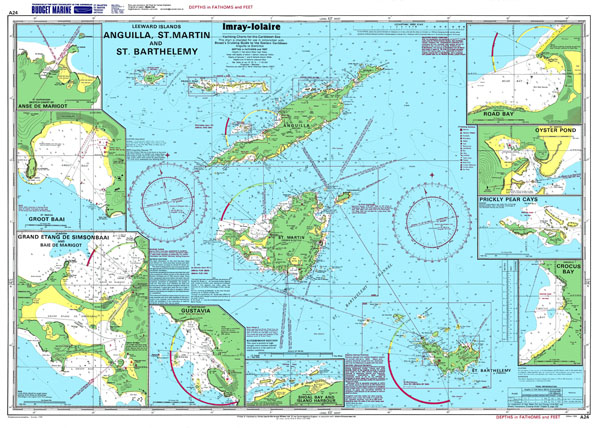 Large detailed topographical and nautical map of Anguilla, St. Martin and St. Barthelemy.