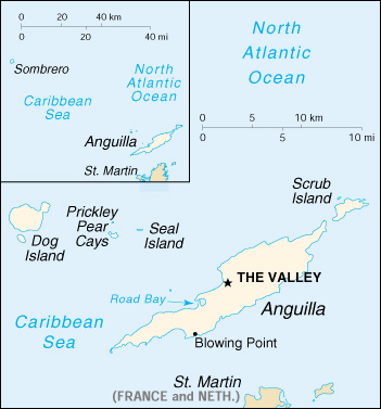 Political map of Anguilla. Anguilla political map.