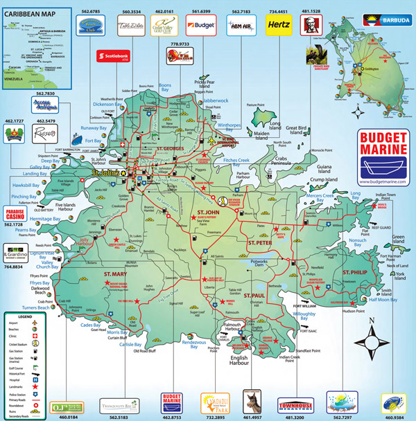 Detailed road and tourist map of Antigua. Antigua detailed road and tourist map.