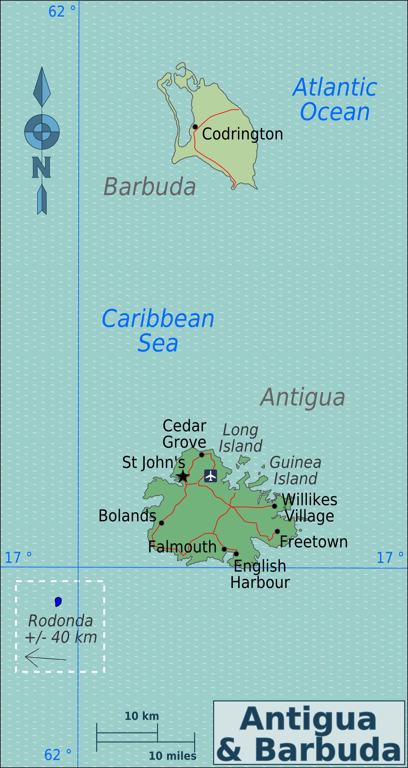 Political and road map of Antigua and Barbuda Antigua and Barbuda