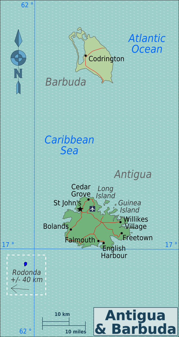 Political and road map of Antigua and Barbuda.