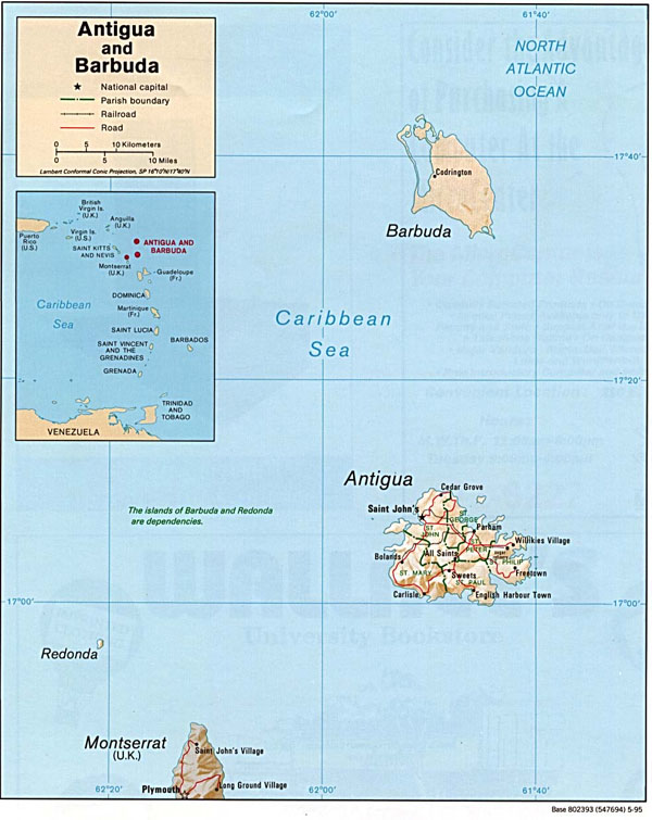 Political map of Antigua and Barbuda. Antigua and Barbuda political map.